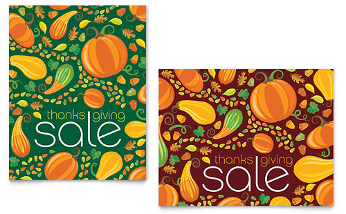 Thanksgiving Harvest Sale Poster Template