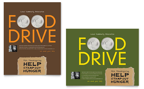Holiday Food Drive Fundraiser Poster Template