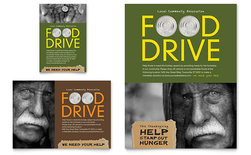 Holiday Food Drive Fundraiser Flyer & Ad Template