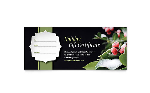 Holly Leaves Gift Certificate Template