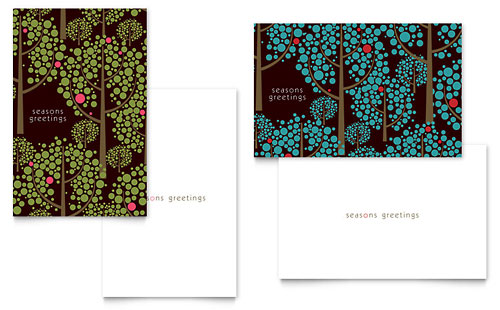 Stylish Holiday Trees Greeting Card Template