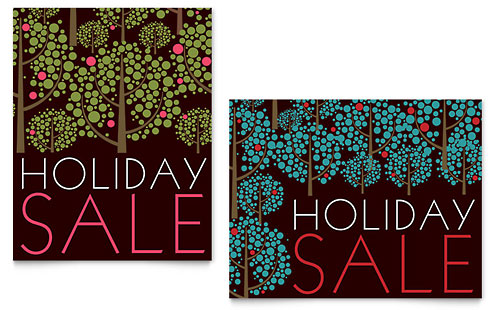 Stylish Holiday Trees Sale Poster Template