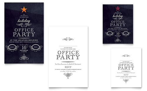 Office Holiday Party Note Card Template