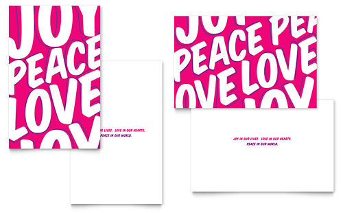 Peace Love Joy Greeting Card Template