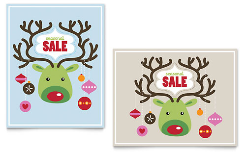 Reindeer Ornaments Sale Poster Template