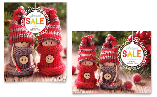 Knitted Dolls Sale Poster Template