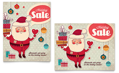 Retro Santa Sale Poster Template