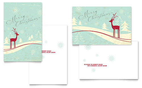 Antique Deer Greeting Card Template