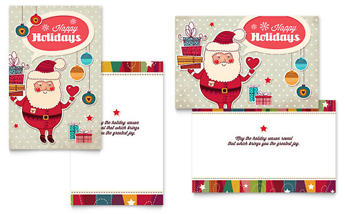Retro Santa Greeting Card Template