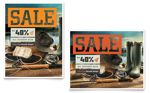 Fishing Gear Sale Poster Template