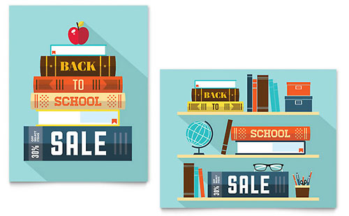 Back to School Books Sale Poster Template