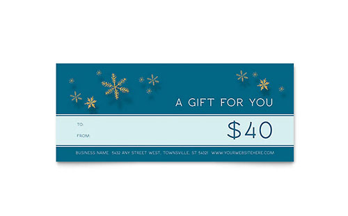 Golden Snowflakes Gift Certificate Template