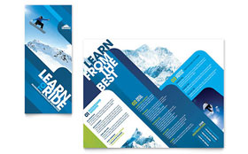 Ski & Snowboard Instructor - Business Marketing Tri Fold Brochure