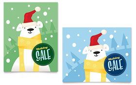 Santa Polar Bear - Poster Template